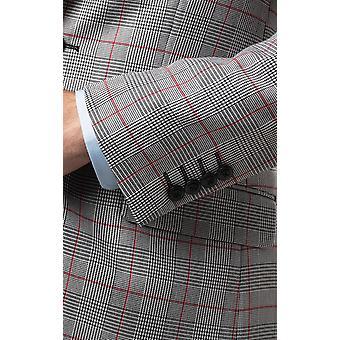 Dobell Mens Suit Jacket Regular Fit Prince of Wales Red Overcheck