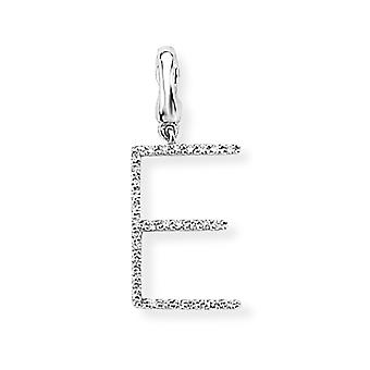 Jewelco London 9ct White Gold Ladies Diamond Initial Charm Ciondolo Lettera E 8mm x 18mm