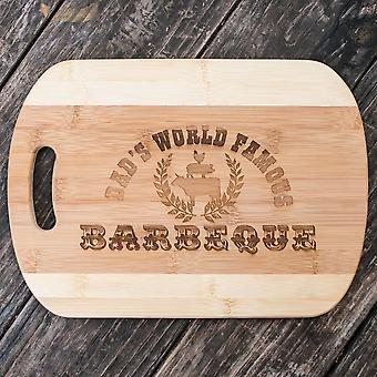 Dad's world famous barbeque - cutting board 14''x9.5''x.5'' bamboo