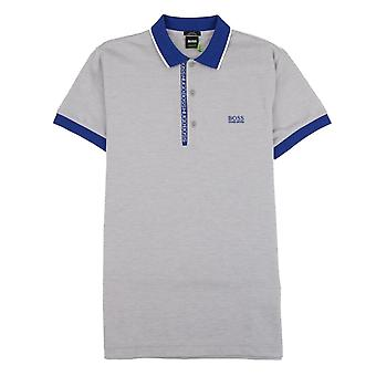 Hugo Boss Paule 4 Short Sleeve Polo Shirt Grey/Blue