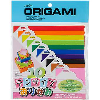 Origami Paper 100 Pkg Ten Assorted Sizes Ts200