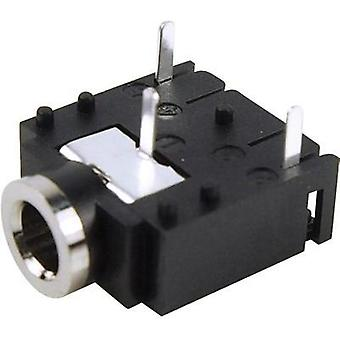 3.5 mm audio jack Socket, horizontal mount Number of pins: 3 Stereo Black Cliff FC68131 1 pc(s)