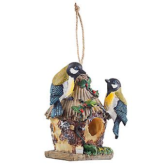 Detailed Hanging Resin Blue Tit Design Bird House Nesting Box