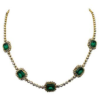 Butler & Wilson Mirror Stone on Round Crystal Chain Necklace Emerald Green