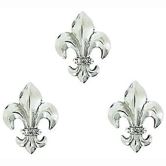 Butler & Wilson Fleur De Lis Manchetknopen & koppeling Pin Set - zilver