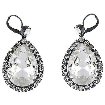 Kenneth Jay Lane noir Gunmetal & Clear Crystal boucles d'oreilles
