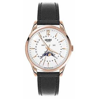 Henry London Richmond Rose guld sag sort læder rem HL39-LS-0150 Watch