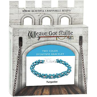 Chainmaile Byzantine Bracelet Jewelry Kit-Turquoise/Turquoise & Silver KTA12008