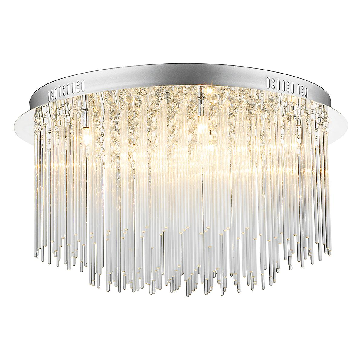 Dar ICI4850 Icicle Crystal Glass Halogen Ceiling Flush Light