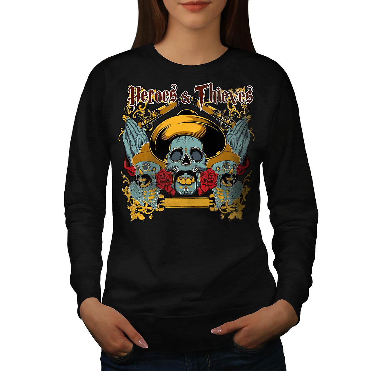Heroes Thieves Mexico Dead Skull Women Black Sweatshirt | Wellcoda