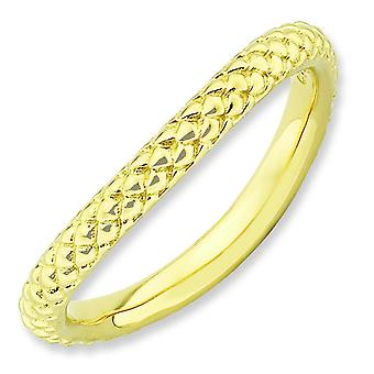 2.25mm Sterling Silver Stackable Expressions Polished Gold-FlashedWave Ring - Ring Size: 5 to 10