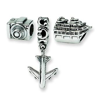 Sterling Silver Gift Boxed Antique finish Reflections Travel Bug Boxed Bead Charm Set