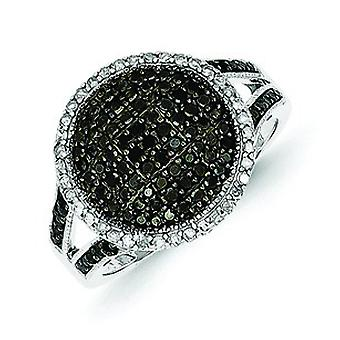 Sterling Silver Black and White Diamond Round Ring - Ring Size: 6 to 8