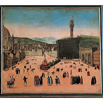 Tortura di Savonarola In Piazza Della Signoria Poster stampa
