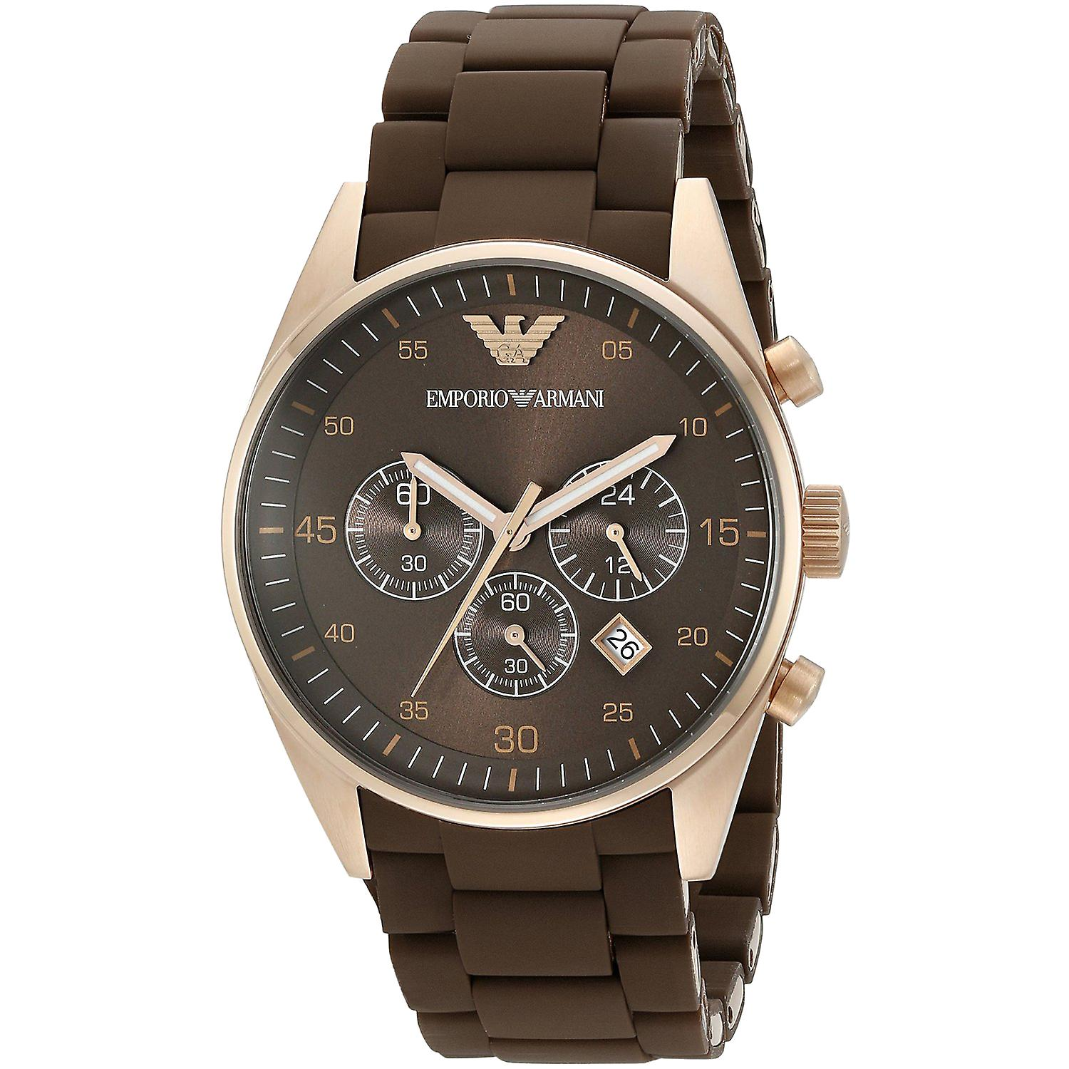 Emporio Armani AR5890 Brown & Gold Sports Silicone Chronograph Watch