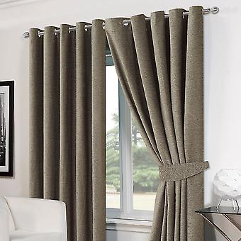 Luxury Ring Top Eyelet Chenille Lined Thermal Ready Made Curtains with Tie backs