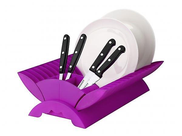 Aubergine - Plate Drainer Kitchen Dish Rack With Cutlery Holder Plastic
