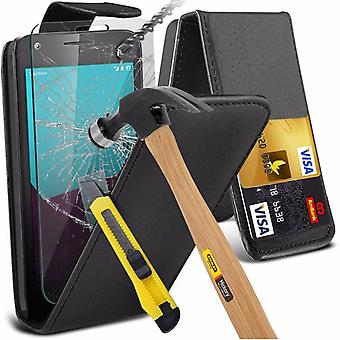 iTronixs - Nokia Lumia 625 Premium Quality PU Leather Flip Cover with Tempered Glass