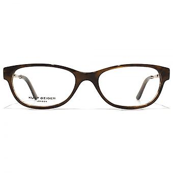 Kurt Geiger Anna Petite Soft Rectangular Acetate Glasses In Brown Horn