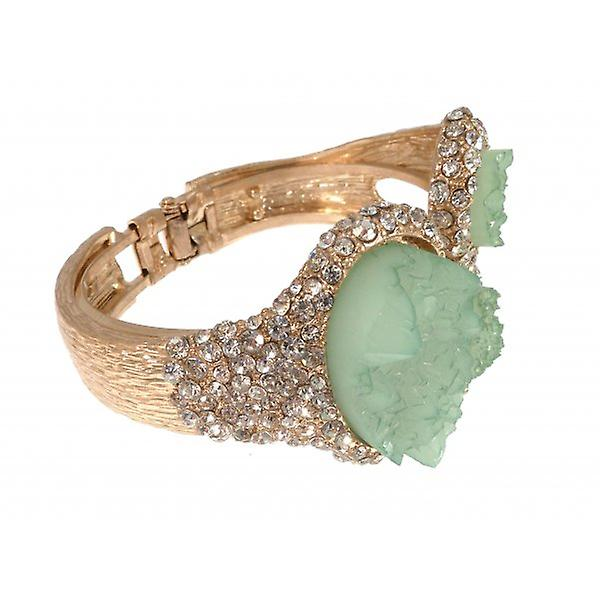 W.A.T Gold Style Green Ice And Clear Crystal Bracelet