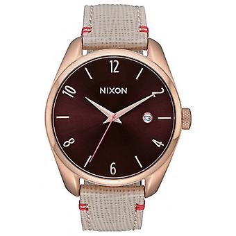 Nixon The Bullet Leather Watch - Rose Gold/Brown/Purple