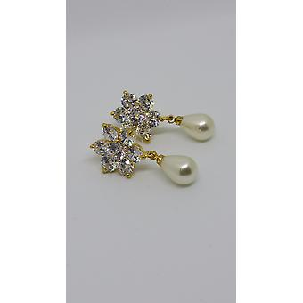 Gold Plated & Cubic Zirconia Gems Pearly Droplet Earrings