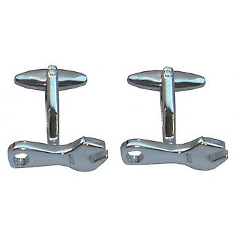 Bassin and Brown Spanner Cufflinks - Silver