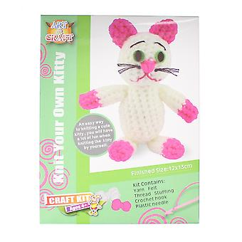 Knit Your Own Kitty/ Cat Art & Craft Set with Yarn, Crochet Hook & Needle