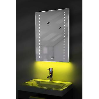 Digital Clock Slim Mirror with Under Lighting, Demist & Sensor k184