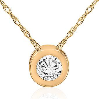 1/3 ct diamant runda Brilliant Cut Solitaire hänge 14K gult guld