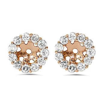3/8ct Halo Diamond Earring Jackets 14K Rose Gold Fits 1/4ct Stones (4mm)