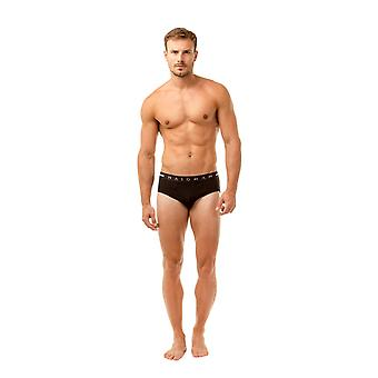 Haigman Mens Three Pack Cotton Stretch Black Briefs