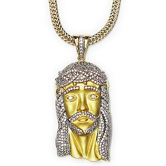 Matte Gold Plated CZ XL Jesus Pendant 2.5 Inches long x 1.5 inches wide