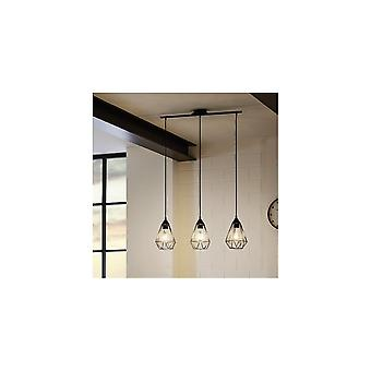 Eglo Tarbes Vintage Open Cage Triple Ceiling Pendant Light Fitting