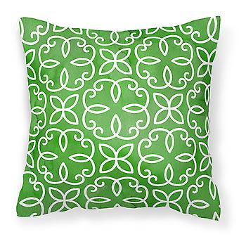 Watercolor Geometric Cirlce on Green Fabric Decorative Pillow