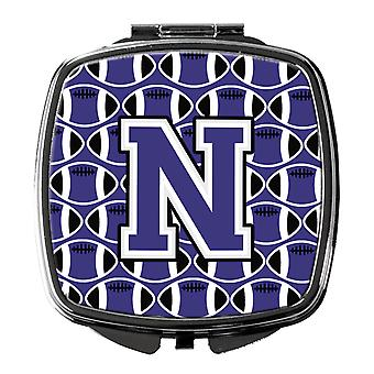 Letter N Football Purple and White Compact Mirror