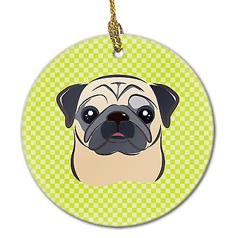 Carolines Treasures  BB1324CO1 Checkerboard Lime Green Fawn Pug Ceramic Ornament