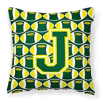 Letter J Football Green and Yellow Fabric Decorative Pillow