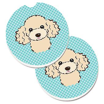 Checkerboard Blue Poodle Set of 2 Cup Holder Car Coasters