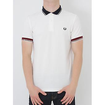 Fred Perry ribbad Trim Pique Polo - Snövit