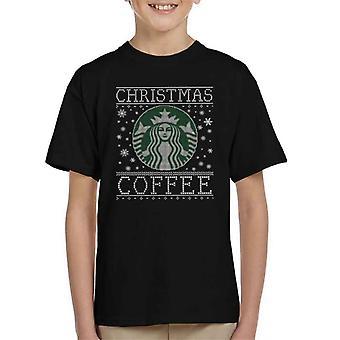 Christmas Coffee Starbucks Christmas Knit Pattern Kid's T-Shirt