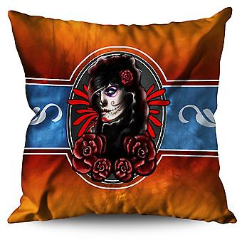 Rose Art Halloween Horror Linen Cushion Rose Art Halloween Horror | Wellcoda