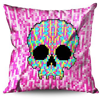 Pixel Skeleton Rock Skull Linen Cushion Pixel Skeleton Rock Skull | Wellcoda