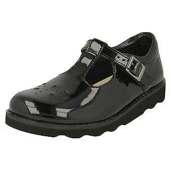 女の子クラークス クラシック T-Bar 靴クラウン希望 - ブラック特許 - 英国サイズ 7 F - EU サイズ 24 - 米国サイズ 7.5 M
