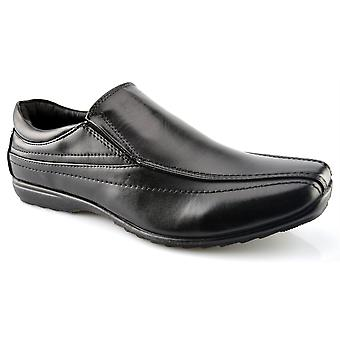 Mens New Slip On Office Work Back To School Twin Gusset Formal Shoes