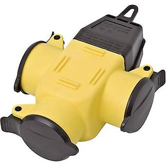 3-way connector Rubber 230 V Yellow, Black IP44