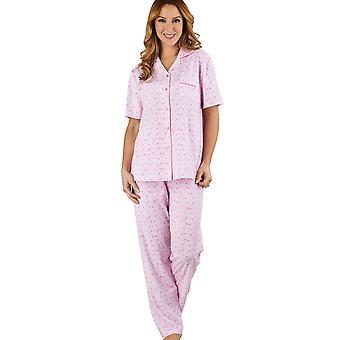 Ditsy Floral rosa 100% algodón Jersey pijama Pijama manga corta conjunto Slenderella PJ1104 mujer