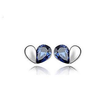 Dark Blue Love Heart Stud Earrings Jewellery