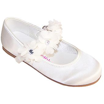 Girls ivory satin flower girl and special occasion ballerinas