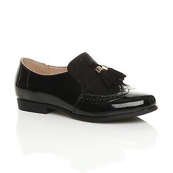 Ajvani womens low heel flat tassel vintage style smart work shoes brogues